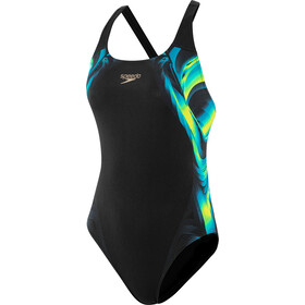 speedo Placement Powerback Badeanzug Damen coloursoul black/bright yellow